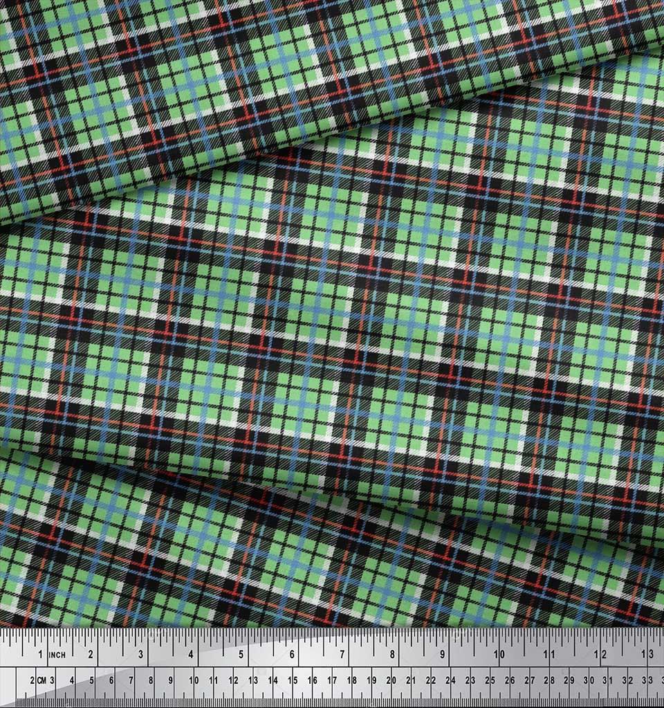 Soimoi-Cotton-Poplin-Fabric-Plaid-Check-Print-Sewing-Fabric-metre-ziH thumbnail 4