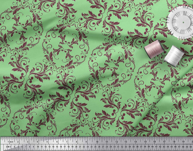 Soimoi-Green-Cotton-Poplin-Fabric-Quaterfoil-Damask-Fabric-Prints-HM9 thumbnail 3