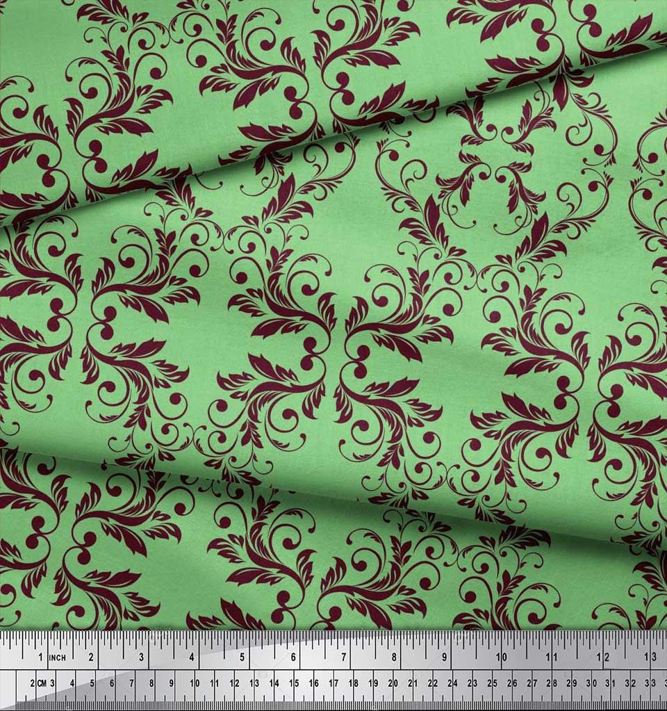 Soimoi-Green-Cotton-Poplin-Fabric-Quaterfoil-Damask-Fabric-Prints-HM9 thumbnail 4
