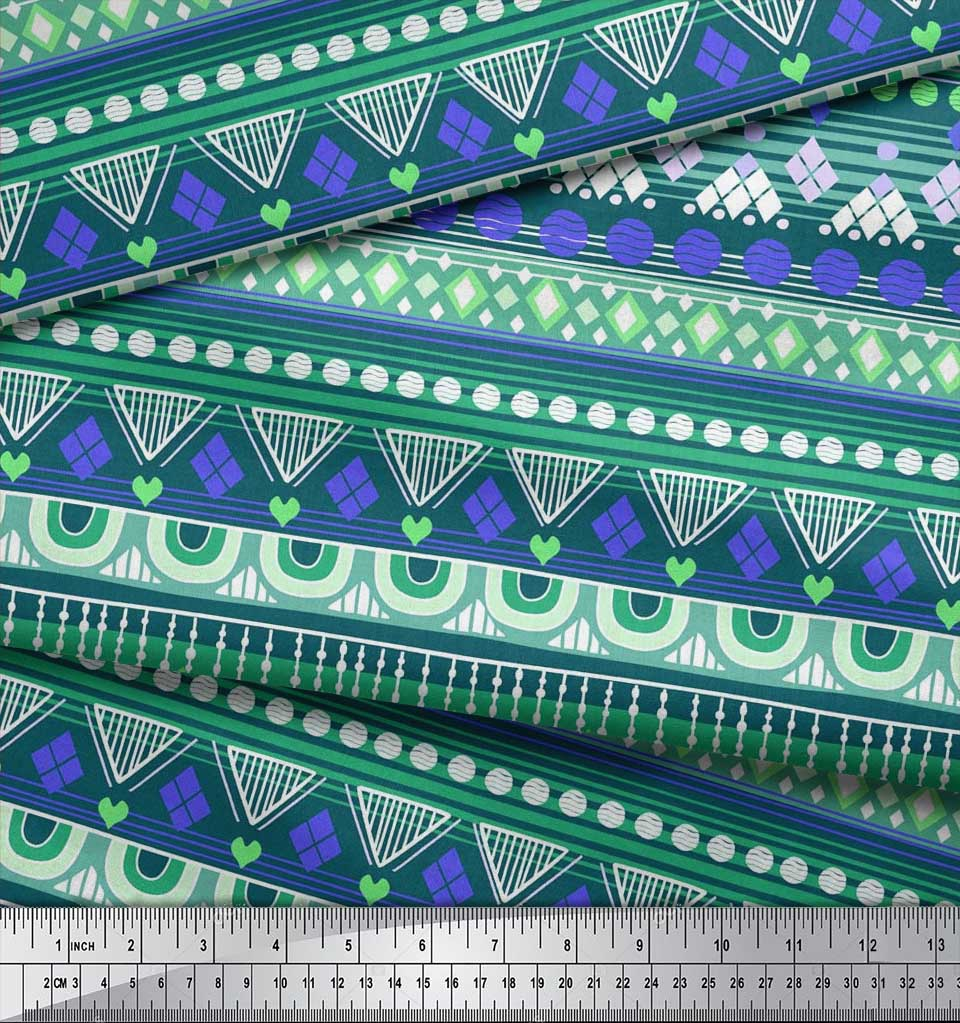 Soimoi-Cotton-Poplin-Fabric-Aztec-Geometric-Print-Fabric-by-the-LKT thumbnail 4