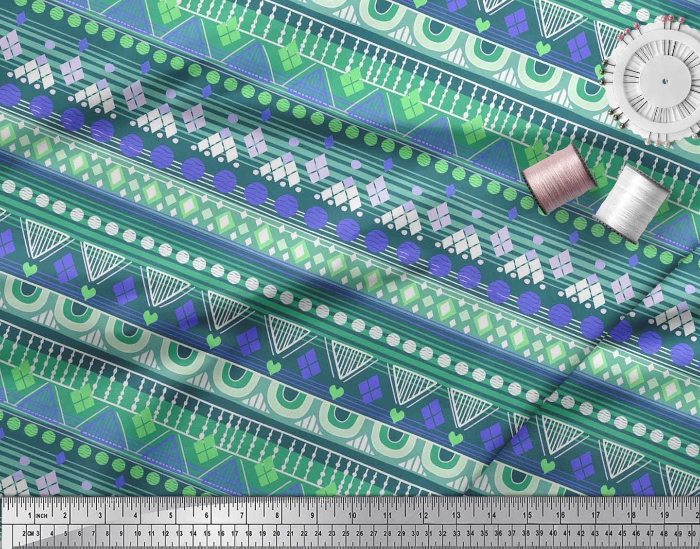 Soimoi-Cotton-Poplin-Fabric-Aztec-Geometric-Print-Fabric-by-the-LKT thumbnail 3
