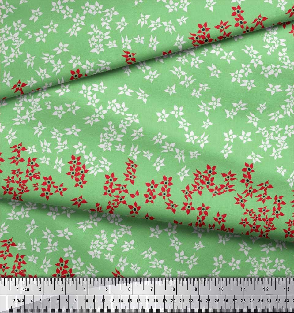 Soimoi-Cotton-Poplin-Fabric-Artistic-Floral-Printed-Craft-Fabric-SYf thumbnail 4