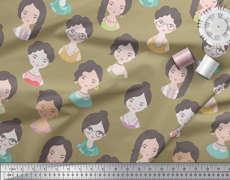Soimoi-Green-Cotton-Poplin-Fabric-Women-Face-Human-Figure-Decor-TVd thumbnail 3