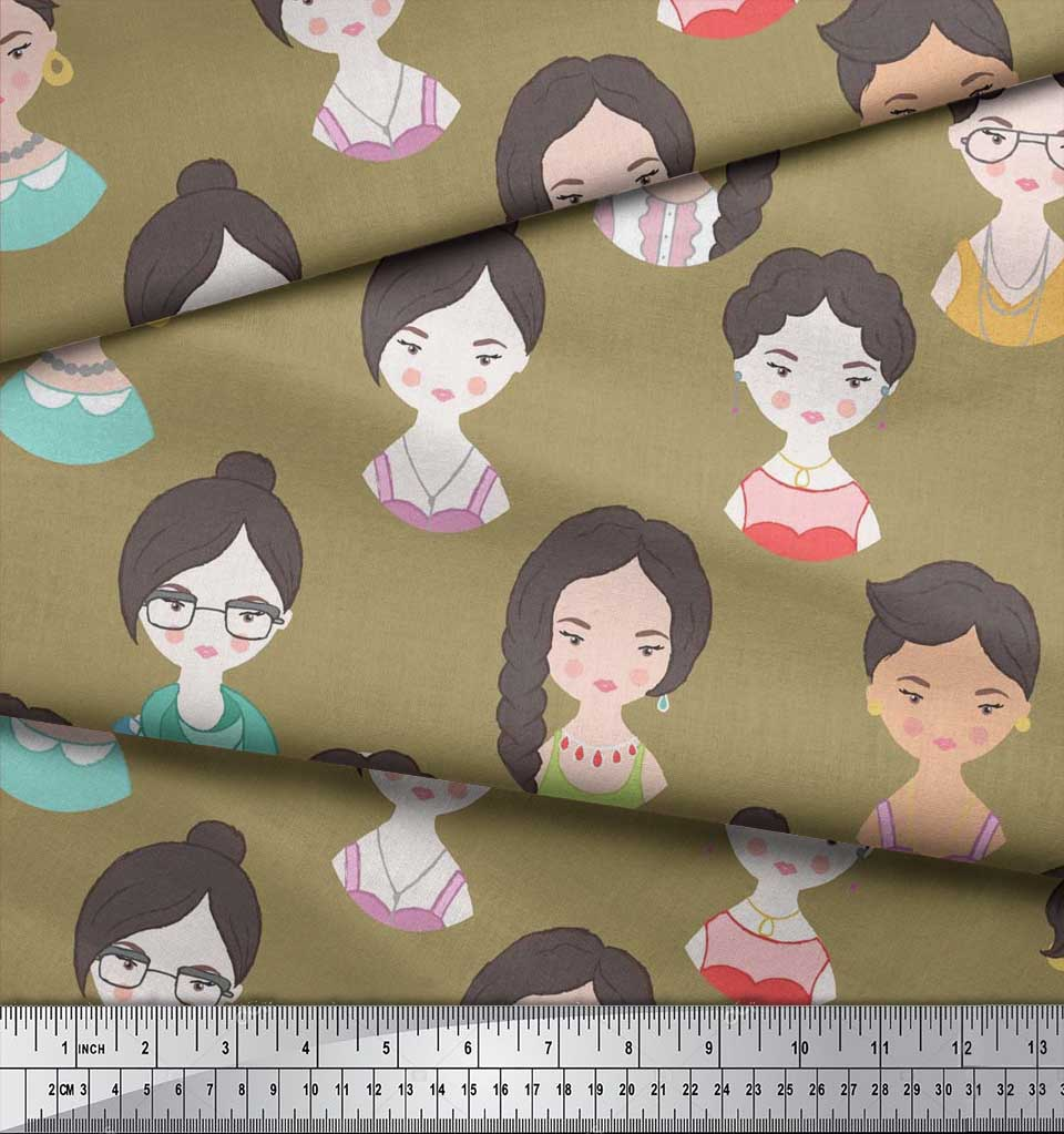 Soimoi-Green-Cotton-Poplin-Fabric-Women-Face-Human-Figure-Decor-TVd thumbnail 4