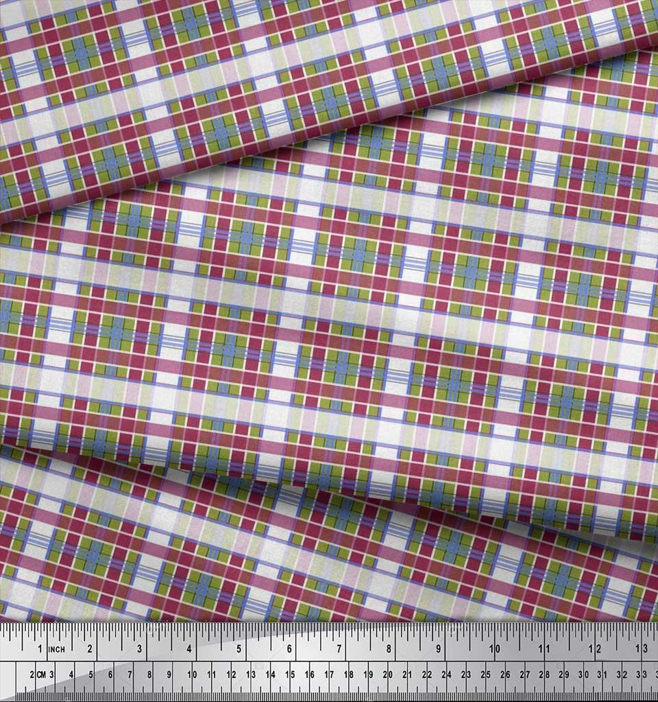 Soimoi-Cotton-Poplin-Fabric-Check-Check-Printed-Fabric-1-metre-42-P9Y thumbnail 3