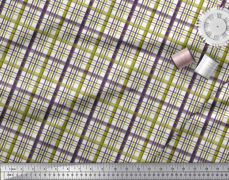 Soimoi-Green-Cotton-Poplin-Fabric-Plaid-Check-Print-Sewing-Fabric-K2c thumbnail 3