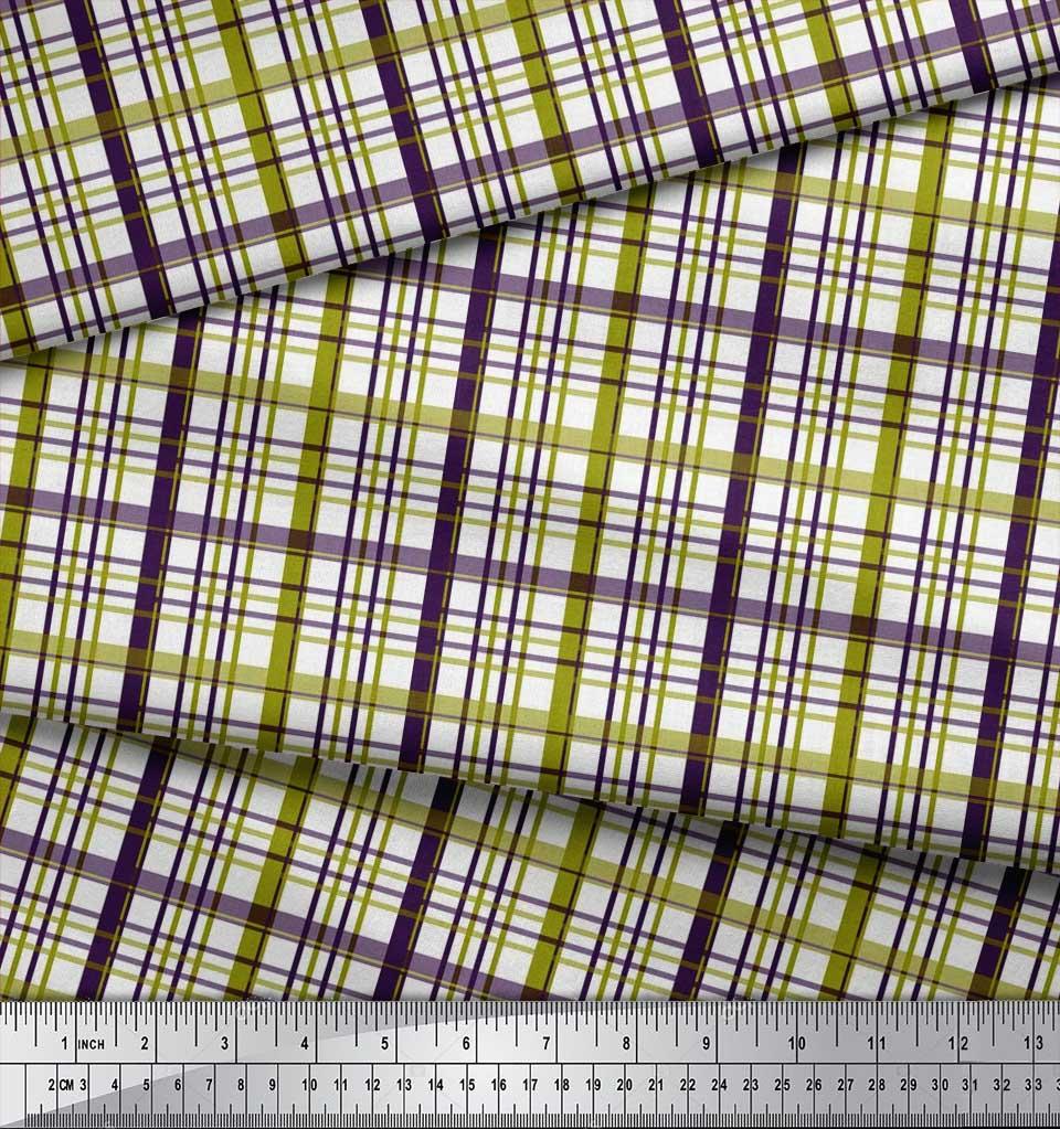 Soimoi-Green-Cotton-Poplin-Fabric-Plaid-Check-Print-Sewing-Fabric-K2c thumbnail 4