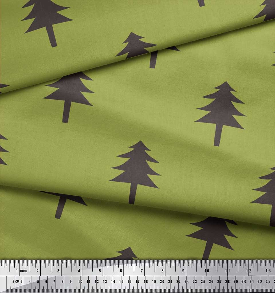 Soimoi-Green-Cotton-Poplin-Fabric-Christmas-Tree-Fabric-Prints-By-yWJ thumbnail 3