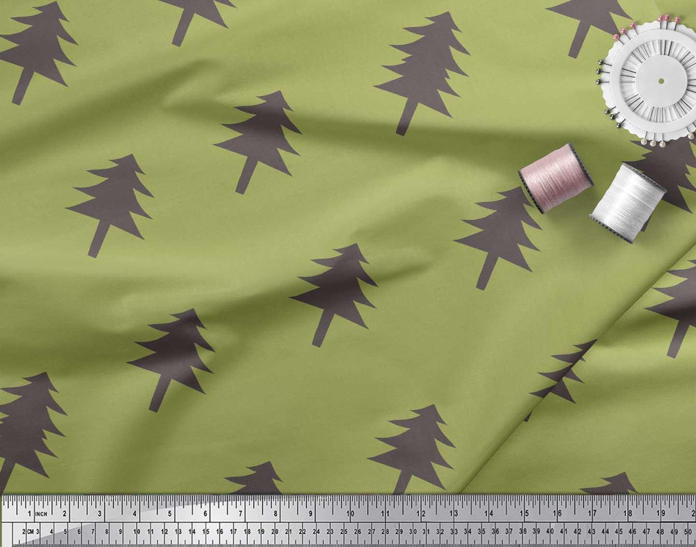 Soimoi-Green-Cotton-Poplin-Fabric-Christmas-Tree-Fabric-Prints-By-yWJ thumbnail 4