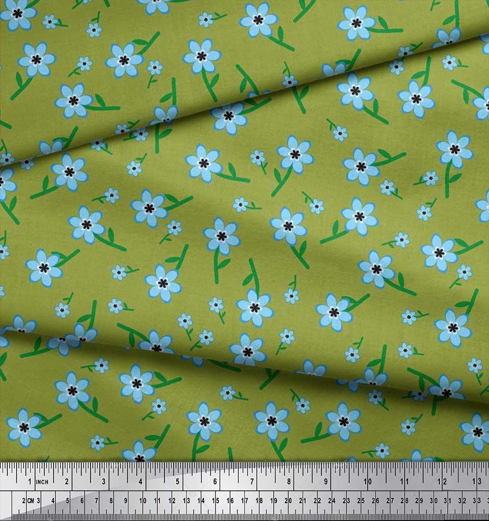 Soimoi-Cotton-Poplin-Fabric-Leaves-amp-Periwinkle-Floral-Fabric-Prints-bnk thumbnail 3