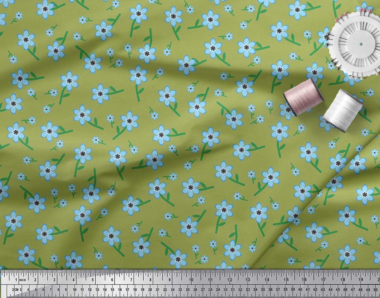 Soimoi-Cotton-Poplin-Fabric-Leaves-amp-Periwinkle-Floral-Fabric-Prints-bnk thumbnail 4