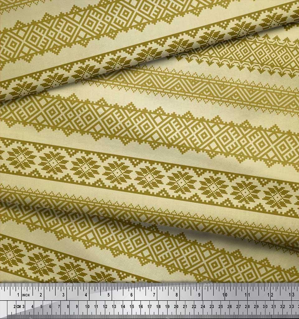 Soimoi-Cotton-Poplin-Fabric-Aztec-Geometric-Print-Fabric-by-the-lc5 thumbnail 3