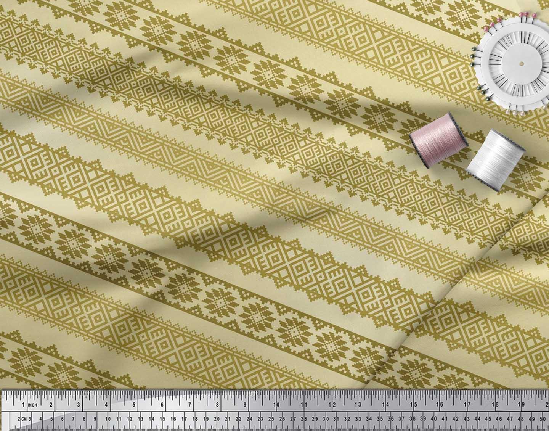 Soimoi-Cotton-Poplin-Fabric-Aztec-Geometric-Print-Fabric-by-the-lc5 thumbnail 4