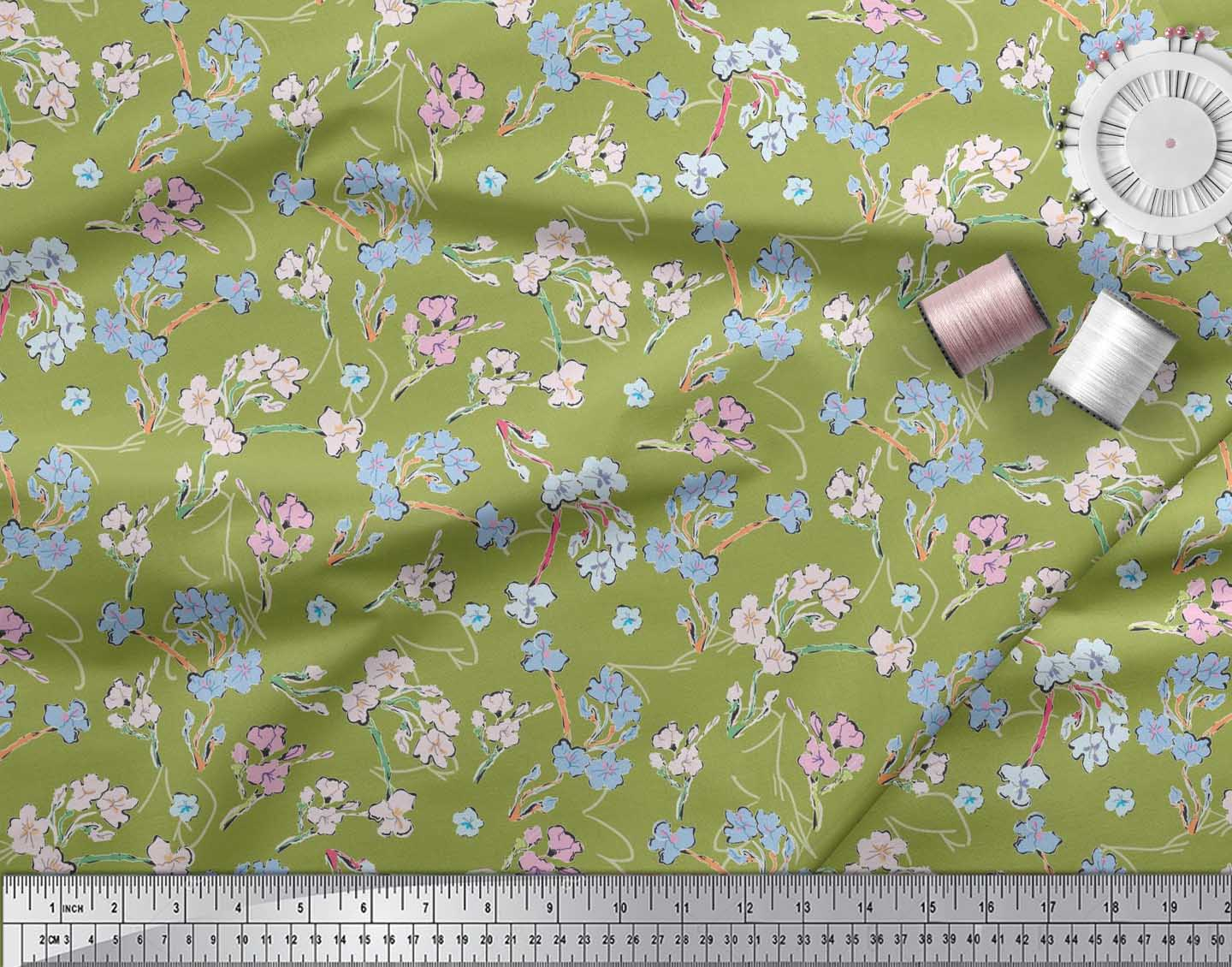 Soimoi-Cotton-Poplin-Fabric-Artistic-Floral-Print-Sewing-Fabric-KUE thumbnail 3