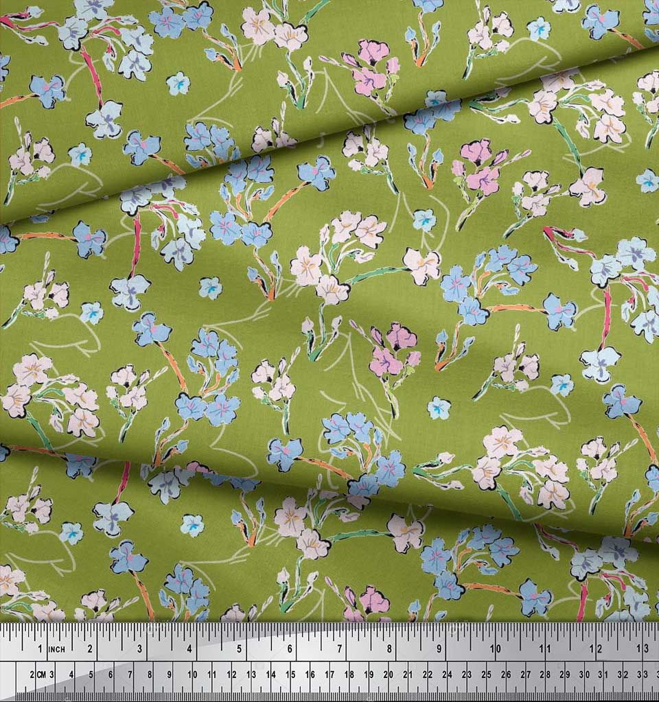 Soimoi-Cotton-Poplin-Fabric-Artistic-Floral-Print-Sewing-Fabric-KUE thumbnail 4