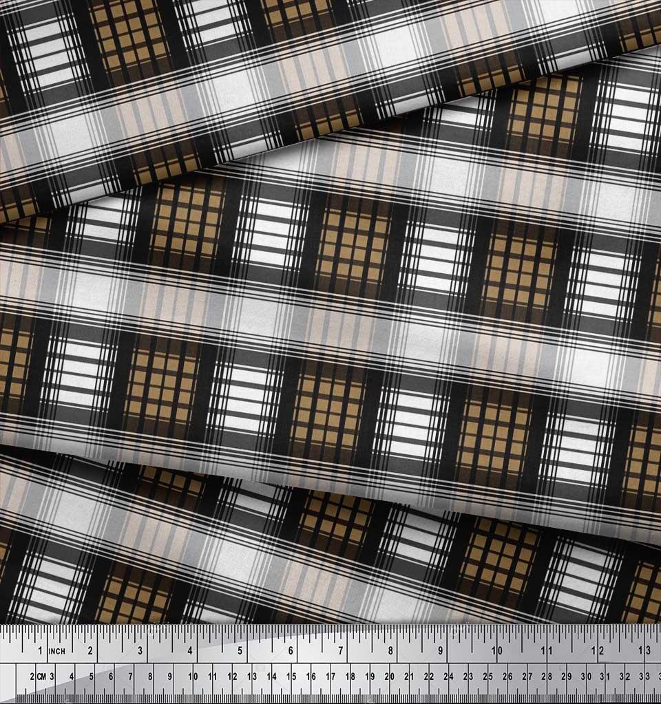 Soimoi-Cotton-Poplin-Fabric-Check-Check-Printed-Craft-Fabric-by-zrw thumbnail 3