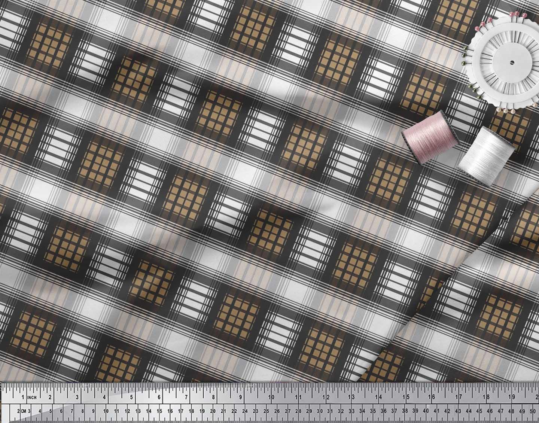 Soimoi-Cotton-Poplin-Fabric-Check-Check-Printed-Craft-Fabric-by-zrw thumbnail 4