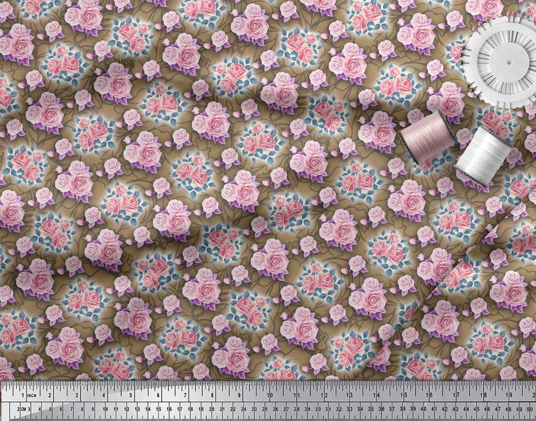 Soimoi-Brown-Cotton-Poplin-Fabric-Leaves-amp-Rose-Floral-Printed-Fabric-h2c thumbnail 3