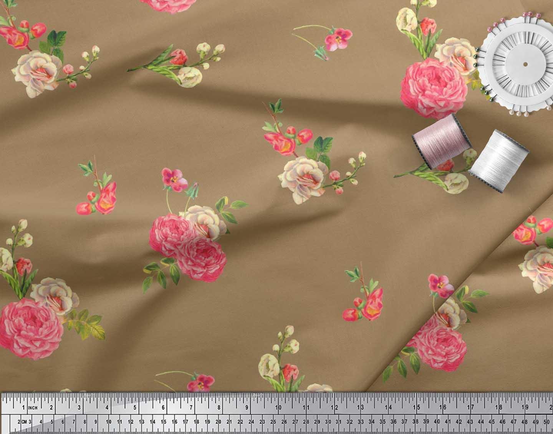 Soimoi-Cotton-Poplin-Fabric-Leaves-amp-Begonia-Floral-Printed-Craft-1hQ thumbnail 3