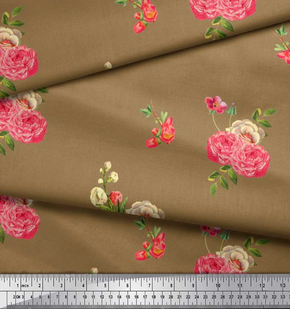 Soimoi-Cotton-Poplin-Fabric-Leaves-amp-Begonia-Floral-Printed-Craft-1hQ thumbnail 4