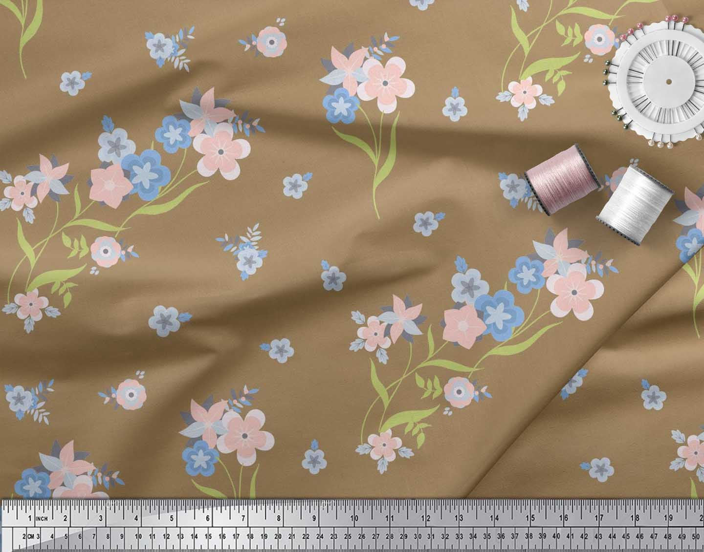 Soimoi-Cotton-Poplin-Fabric-Leaves-amp-Periwinkle-Floral-Print-Sewing-Ogt thumbnail 3