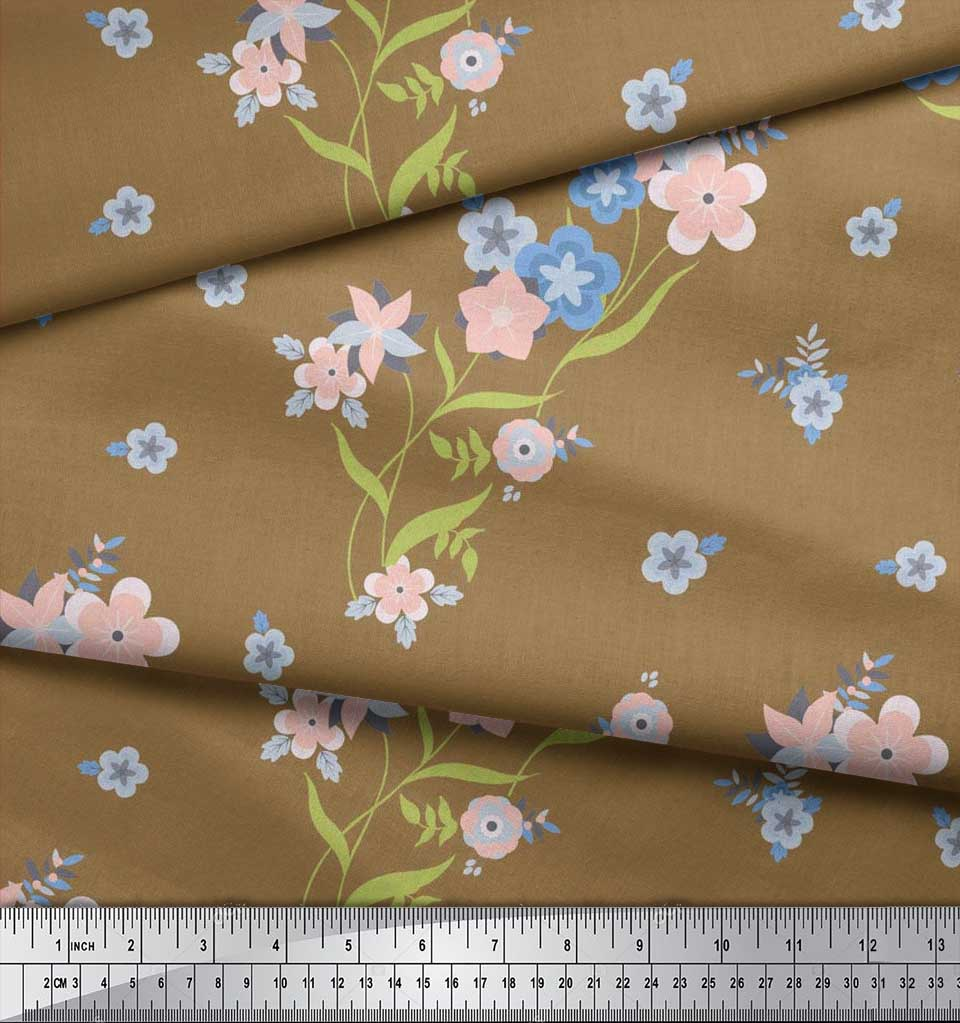Soimoi-Cotton-Poplin-Fabric-Leaves-amp-Periwinkle-Floral-Print-Sewing-Ogt thumbnail 4