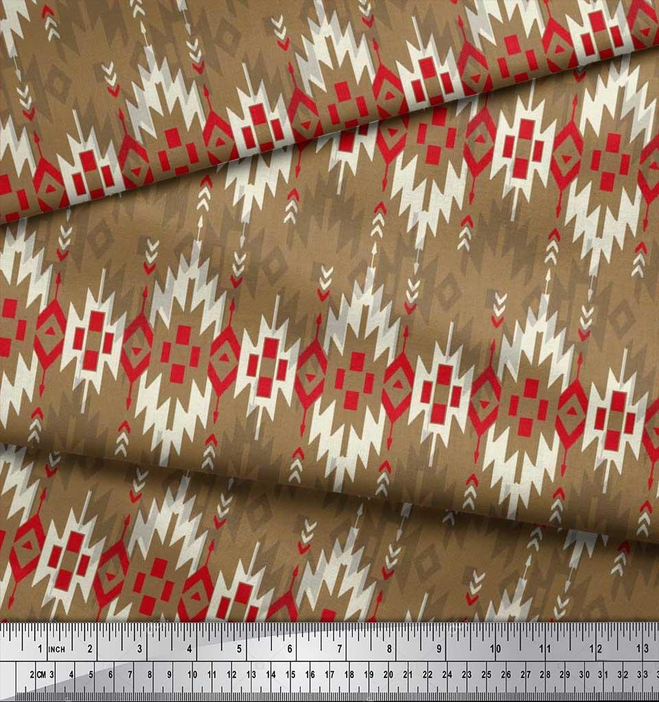 Soimoi-Brown-Cotton-Poplin-Fabric-Aztec-Geometric-Printed-Fabric-rET thumbnail 3