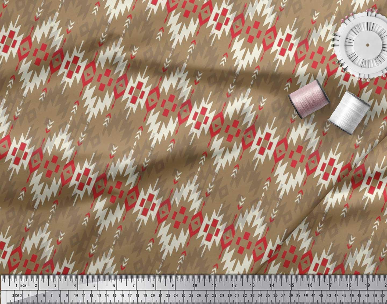 Soimoi-Brown-Cotton-Poplin-Fabric-Aztec-Geometric-Printed-Fabric-rET thumbnail 4