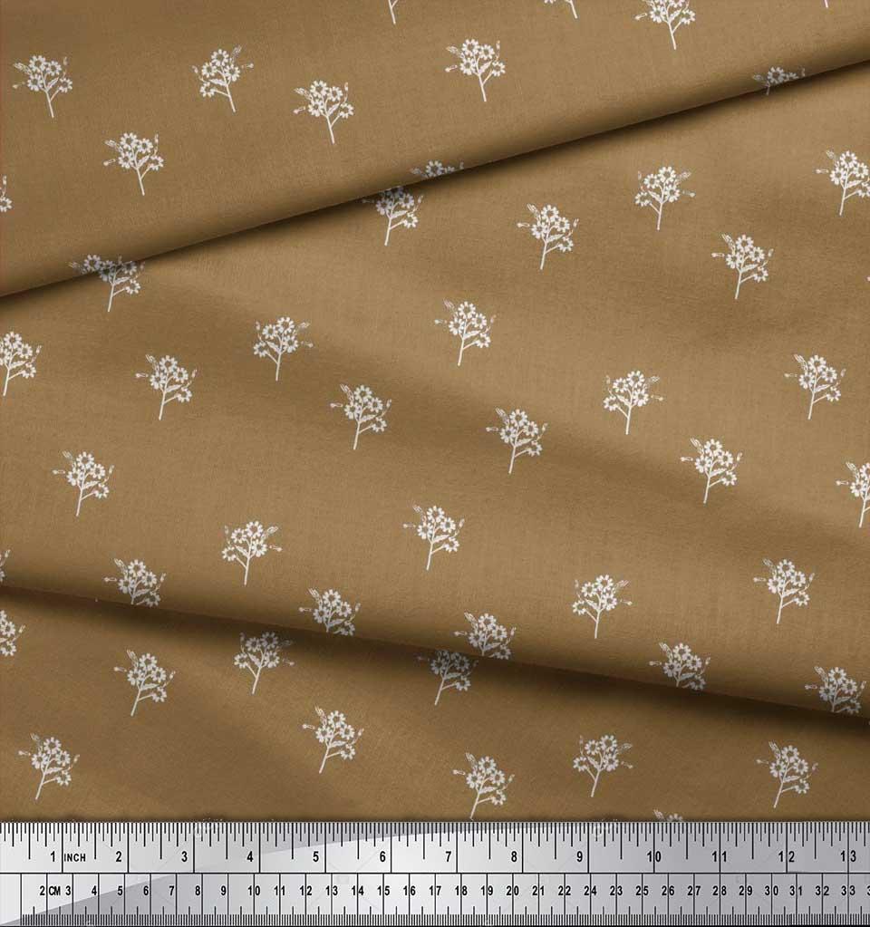 Soimoi-Brown-Cotton-Poplin-Fabric-Artistic-Floral-Print-Fabric-by-D4A thumbnail 4