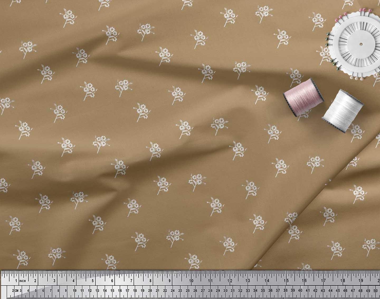 Soimoi-Brown-Cotton-Poplin-Fabric-Artistic-Floral-Print-Fabric-by-D4A thumbnail 3