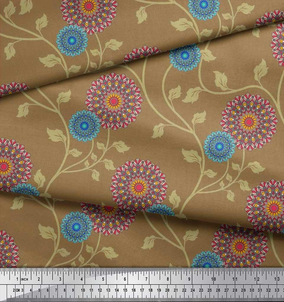 Soimoi-Cotton-Poplin-Fabric-Artistic-Floral-Print-Fabric-by-the-xQO thumbnail 3