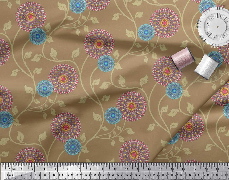 Soimoi-Cotton-Poplin-Fabric-Artistic-Floral-Print-Fabric-by-the-xQO thumbnail 4