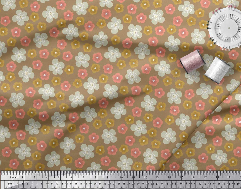 Soimoi-Cotton-Poplin-Fabric-Blossom-Floral-Printed-Fabric-1-metre-sW1 thumbnail 3