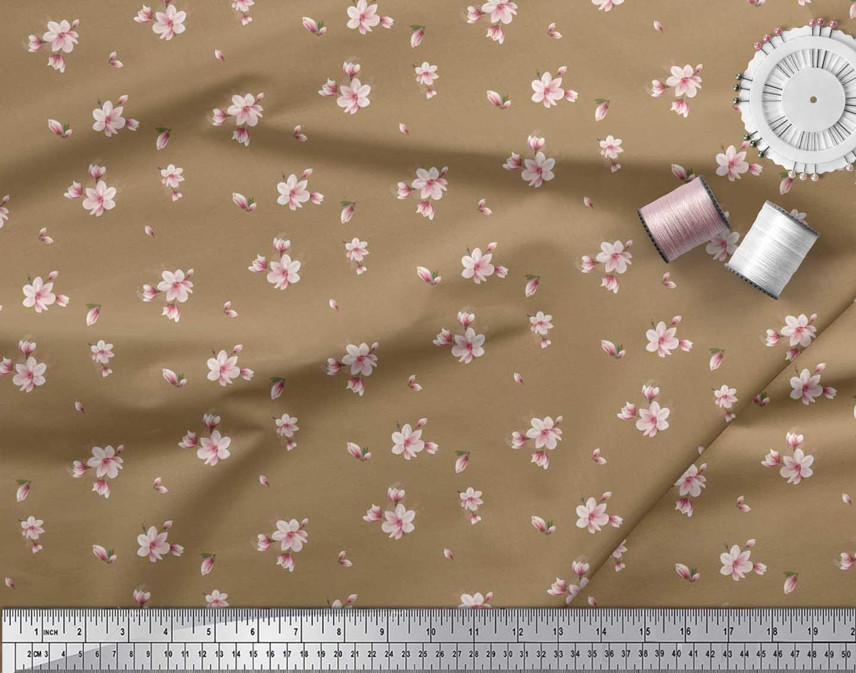 Soimoi-Cotton-Poplin-Fabric-Leaves-amp-Magnolia-Floral-Print-Fabric-zXb thumbnail 3