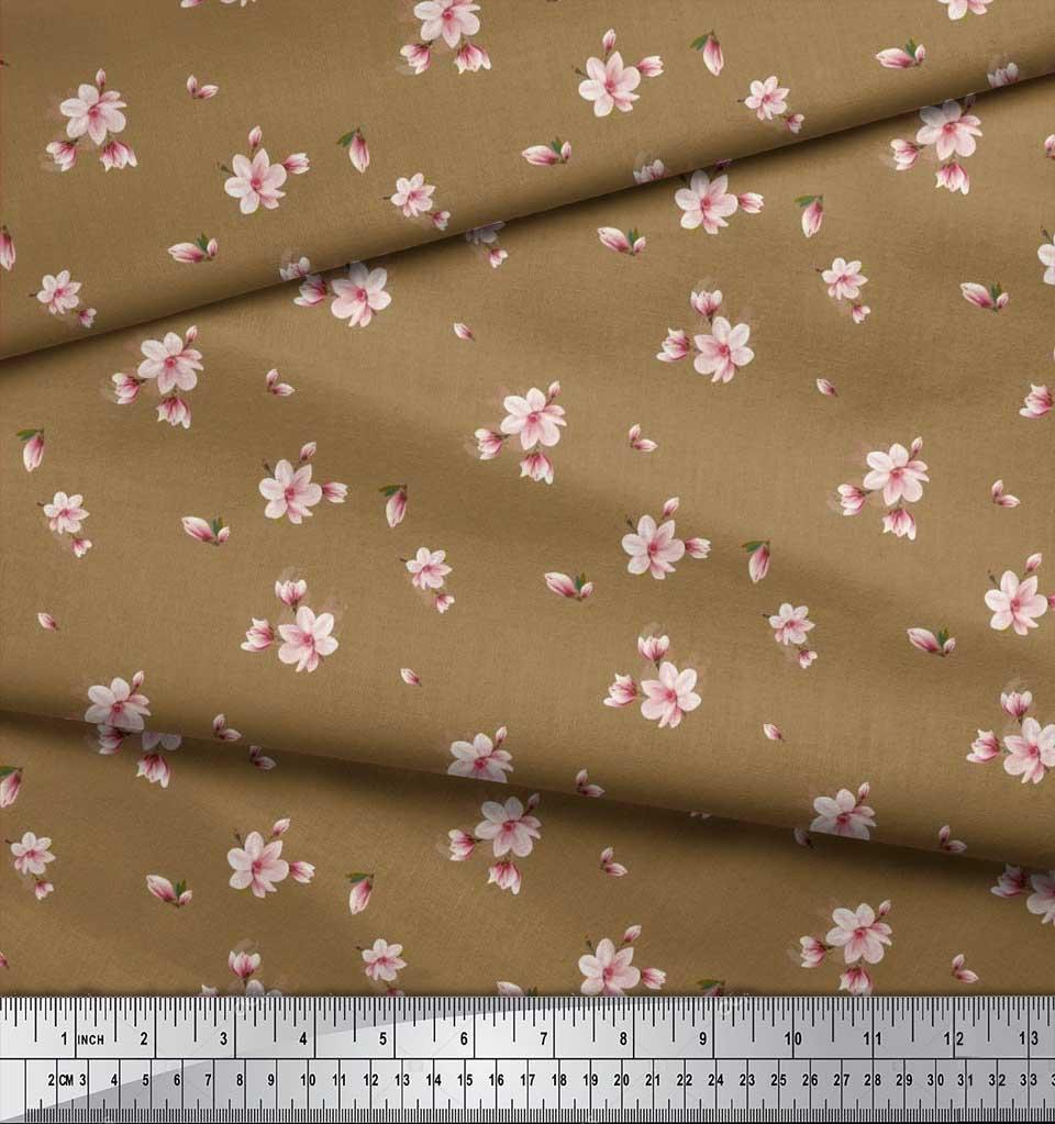 Soimoi-Cotton-Poplin-Fabric-Leaves-amp-Magnolia-Floral-Print-Fabric-zXb thumbnail 4