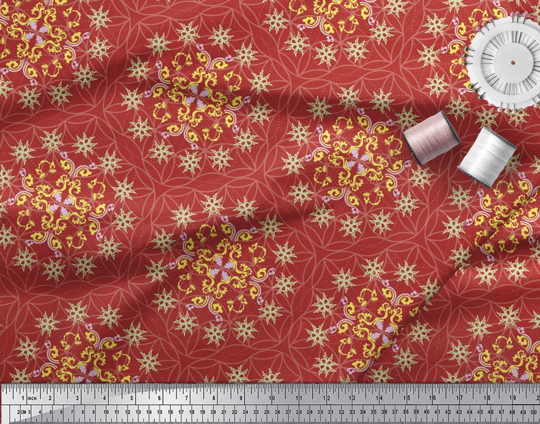 Soimoi-Cotton-Poplin-Fabric-Moroccan-Damask-Print-Sewing-Fabric-Toe thumbnail 3
