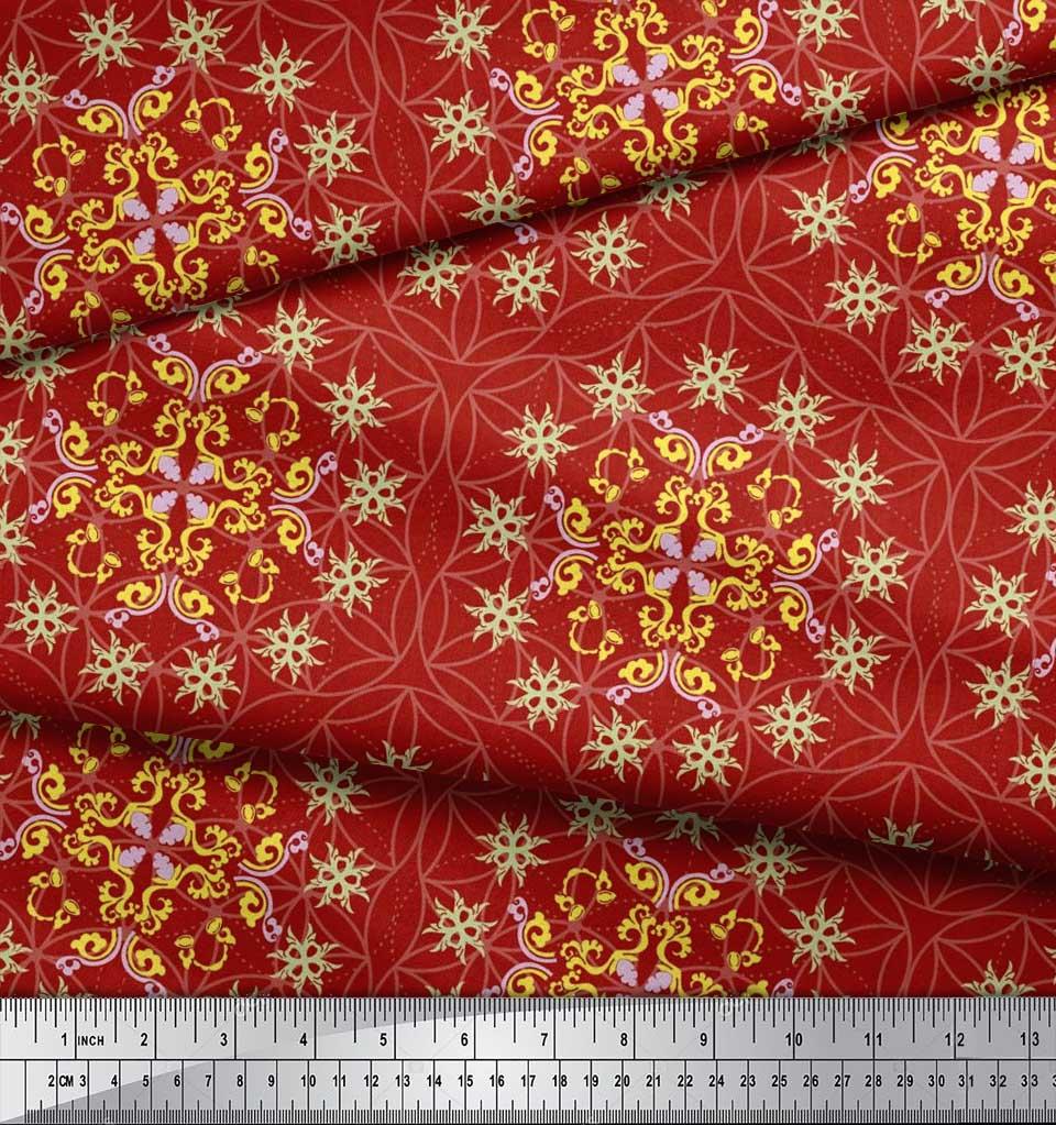 Soimoi-Cotton-Poplin-Fabric-Moroccan-Damask-Print-Sewing-Fabric-Toe thumbnail 4