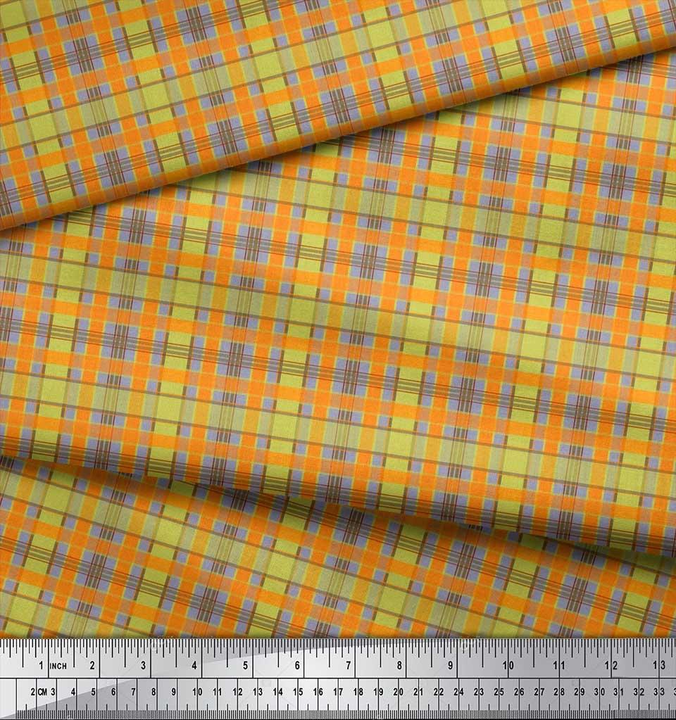 Soimoi-Cotton-Poplin-Fabric-Check-Check-Print-Sewing-Fabric-metre-ORM thumbnail 3