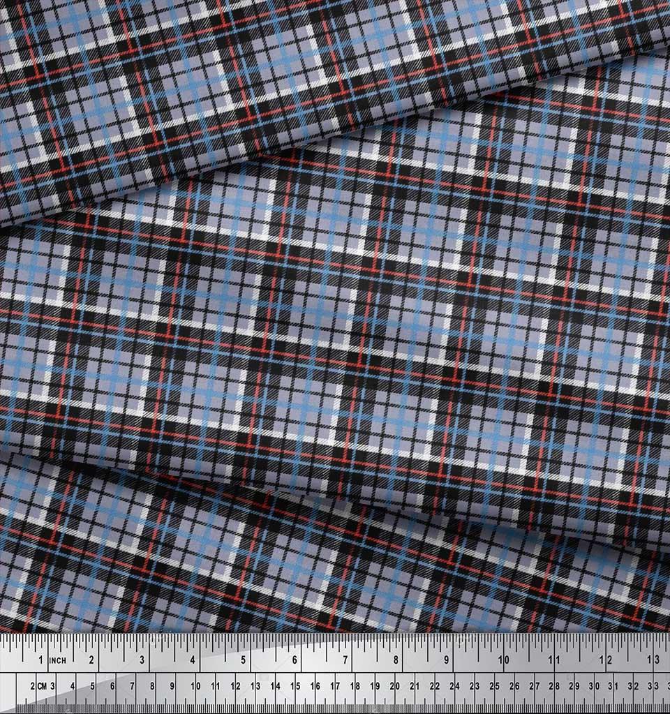 Soimoi-Cotton-Poplin-Fabric-Plaid-Check-Print-Fabric-by-metre-42-gGZ thumbnail 4