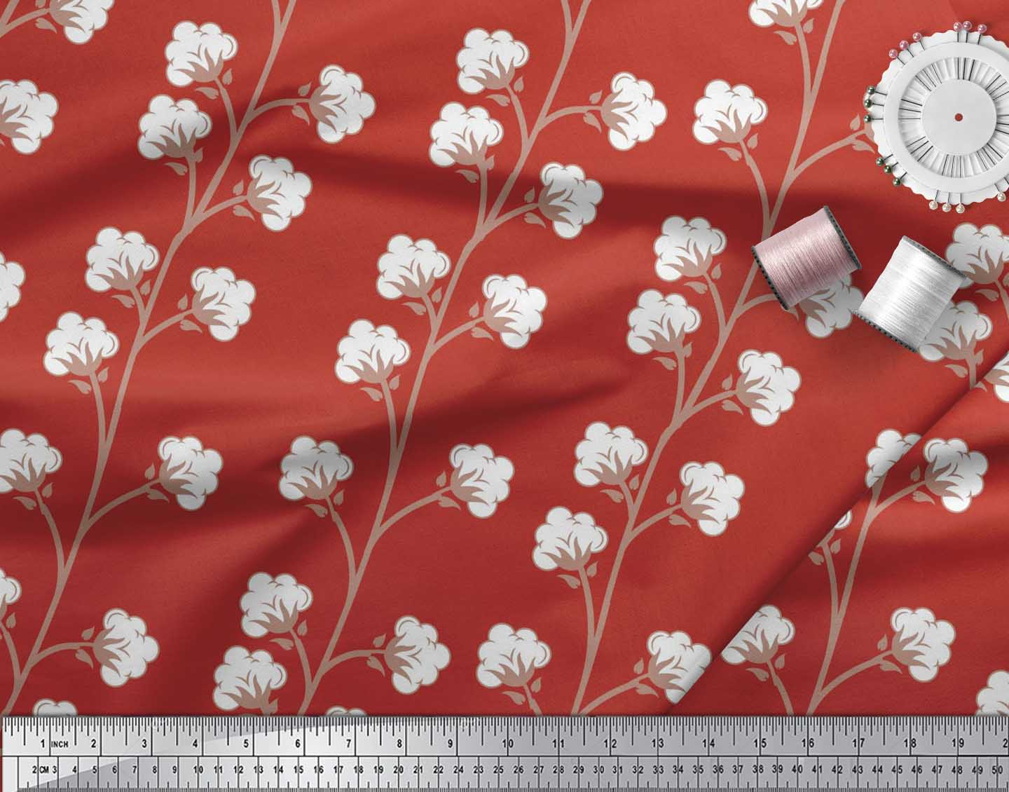 Soimoi-Cotton-Poplin-Fabric-Cotton-Ball-Floral-Fabric-Prints-By-0x3 thumbnail 4