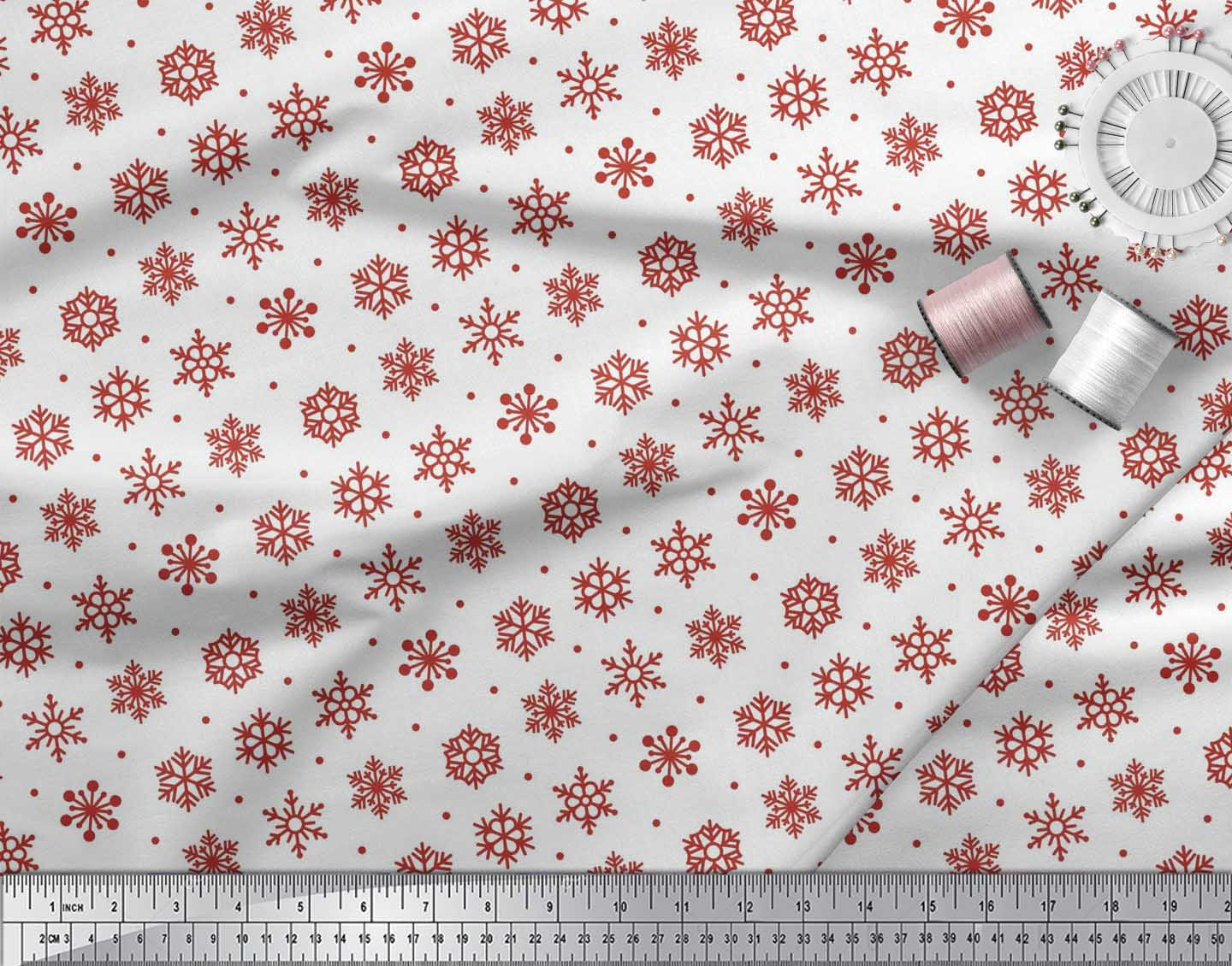 Soimoi-Cotton-Poplin-Fabric-Dot-amp-Snow-Flakes-Floral-Print-Sewing-8mA thumbnail 3