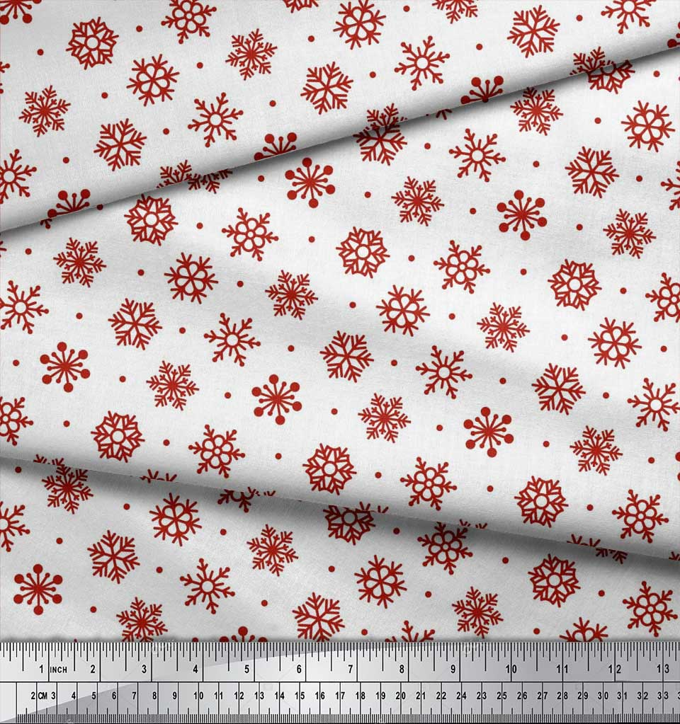 Soimoi-Cotton-Poplin-Fabric-Dot-amp-Snow-Flakes-Floral-Print-Sewing-8mA thumbnail 4