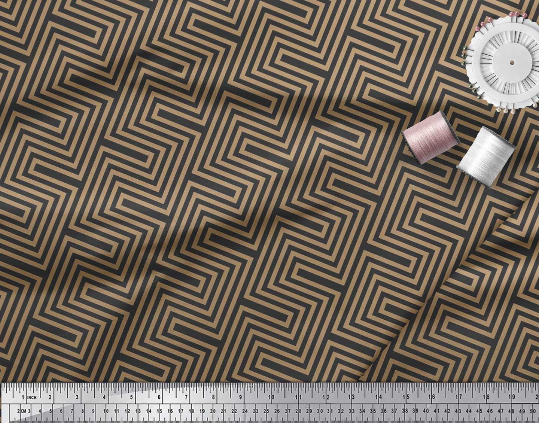 Soimoi-Cotton-Poplin-Fabric-Square-amp-Spiral-Geometric-Print-Fabric-KRI thumbnail 3