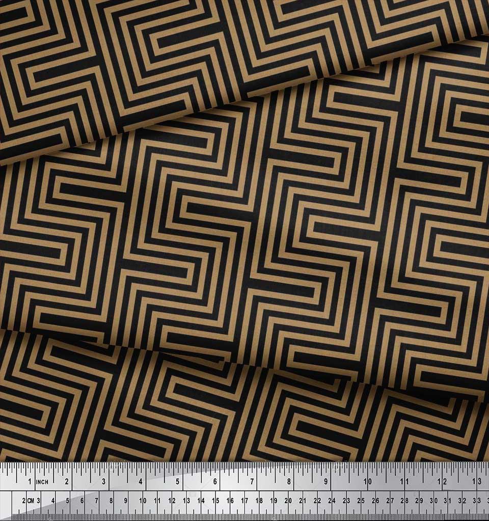 Soimoi-Cotton-Poplin-Fabric-Square-amp-Spiral-Geometric-Print-Fabric-KRI thumbnail 4