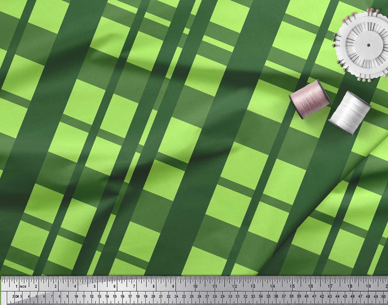 Soimoi-Cotton-Poplin-Fabric-Check-Check-Print-Fabric-by-metre-42-d7C thumbnail 4