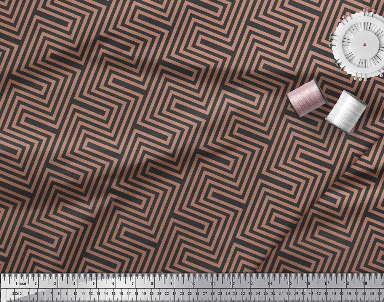Soimoi-Cotton-Poplin-Fabric-Square-amp-Spiral-Geometric-Printed-Craft-jts thumbnail 4