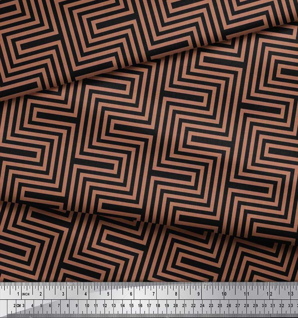 Soimoi-Cotton-Poplin-Fabric-Square-amp-Spiral-Geometric-Printed-Craft-jts thumbnail 3