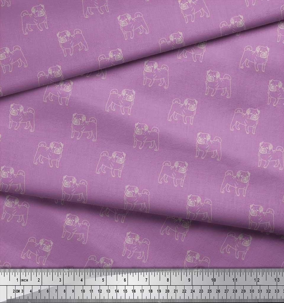 Soimoi-Cotton-Poplin-Fabric-Pug-Dog-Print-Fabric-by-the-metre-42-wXn thumbnail 3