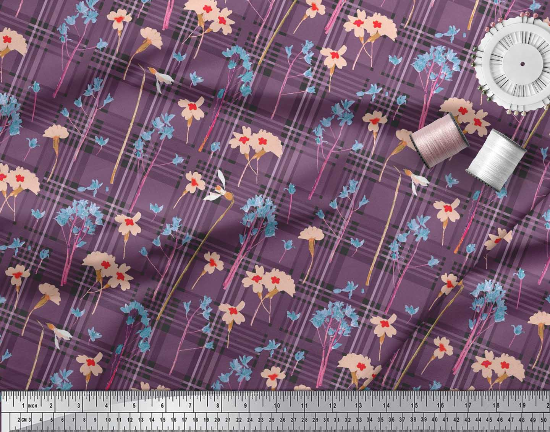 Soimoi-Cotton-Poplin-Fabric-Floral-amp-Check-Decor-Fabric-Printed-Tp8 thumbnail 4