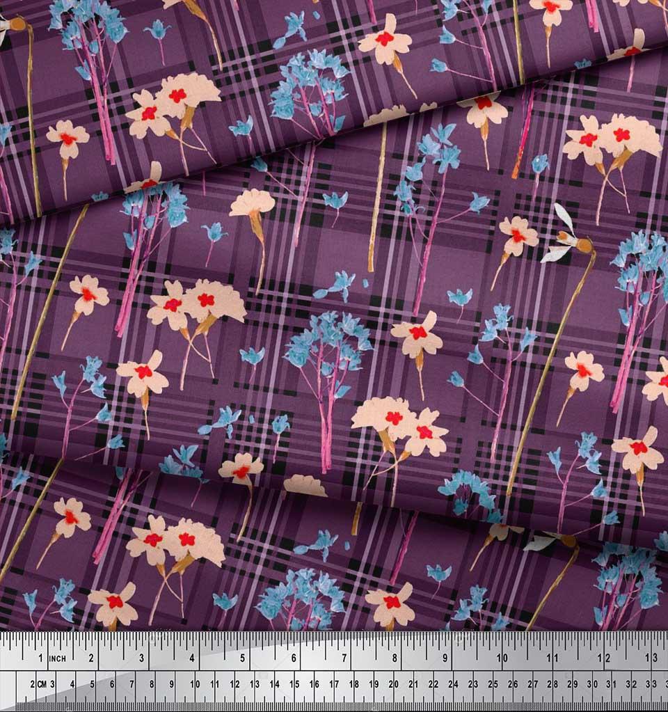 Soimoi-Cotton-Poplin-Fabric-Floral-amp-Check-Decor-Fabric-Printed-Tp8 thumbnail 3